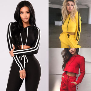 Us Womens Sport Hoodies Sweatshirt Crop Tops Pants Set 2pcs