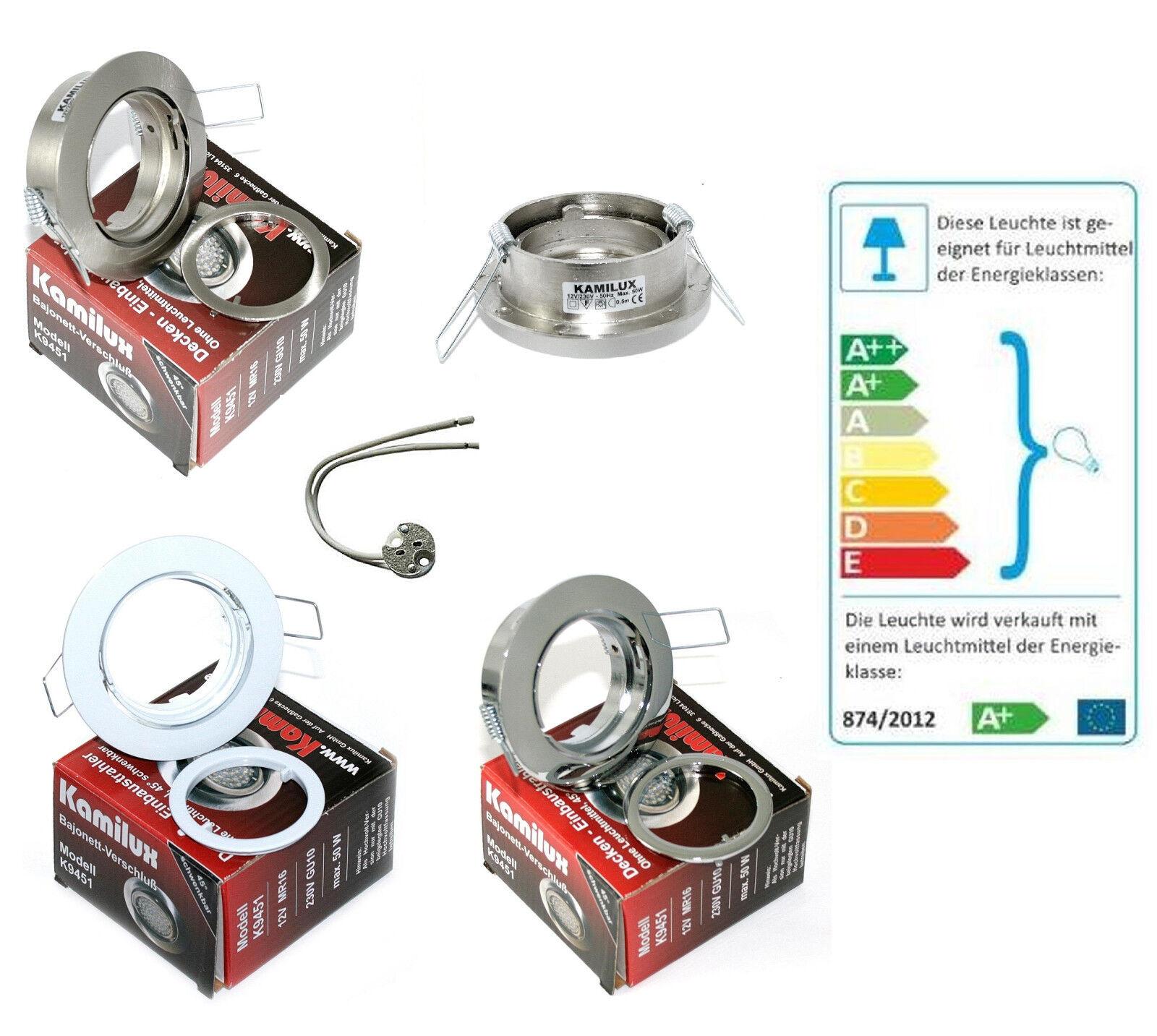 12V   230V Einbaustrahler Lana für 50mm Halogen LED Leuchtmittel Aluminium