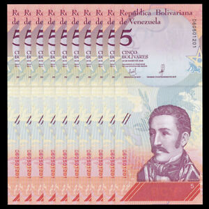 Lot-10-PCS-Venezuela-5-Bolivares-2018-P-NEW-NEW-ISSUE-UNC-1-10-Bundle