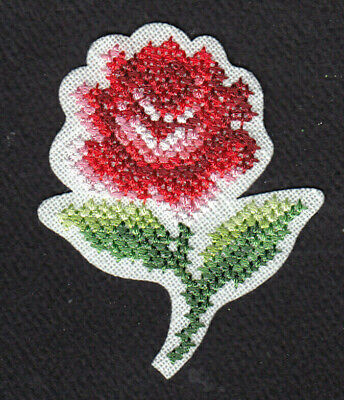 RED ROSE CROSS STITCH Iron On Patch Flowers Rose Buds Roses