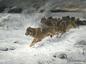 Details About Alfred Von Wierusz Kowalski A Pack Of Wolves Oil Painting Repro