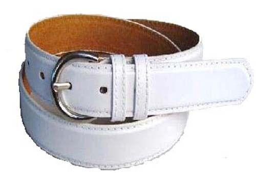 """#5549-1.25/"""" WIDE PURE WHITE LEATHER DRESS BELT FOR MEN IN SIZES TO FIT MOST"""