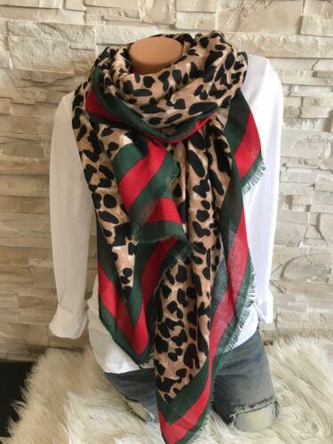 XXL  Schal Tuch animal Print Leo Leopard seitlich rot grüner Streifen Neu