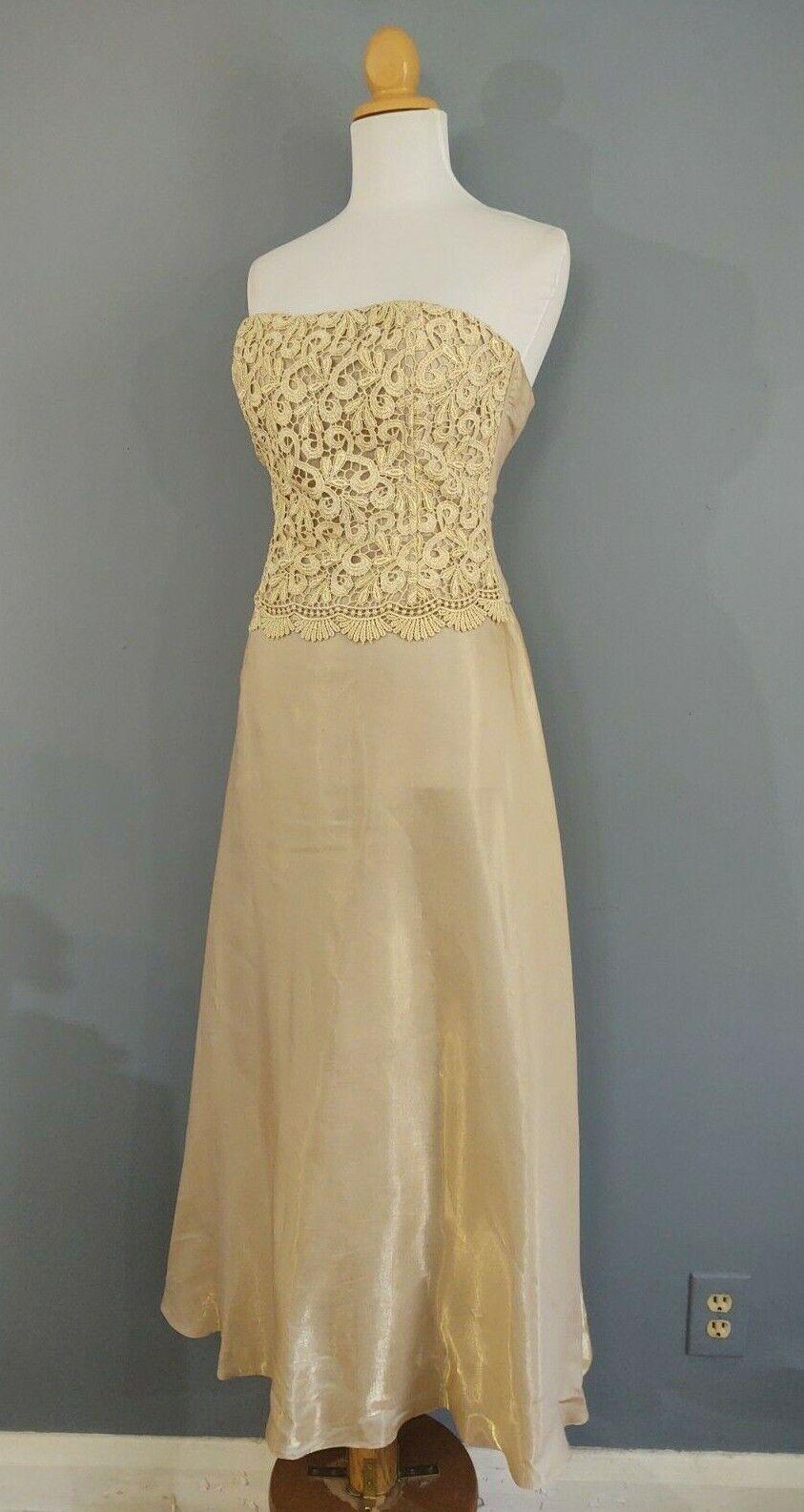 00's Scott McClintock Millennium 2000 Gold Strapless Party Gown Vintage Sz 6