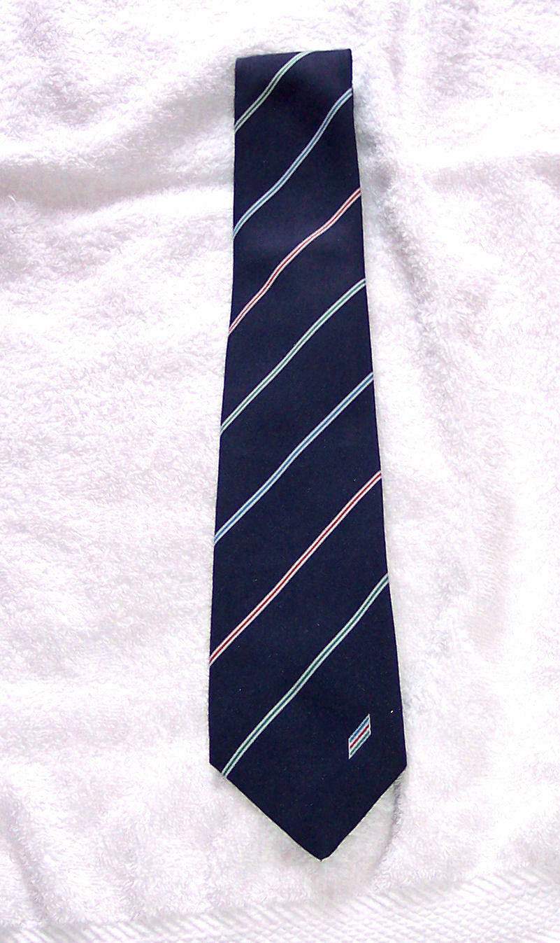 Vintage Company Tie - Red Yellow Green Stripes/Logo 1980's excellent notes/pics