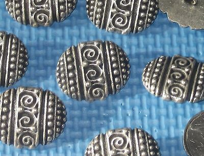 "ORNATE Set 8 Vintage Antiqued SILVER Metal Oval New Fancy buttons 1 & 1/8"" long"