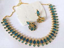 BEAUTIFUL BRIDAL Kundan blue  STONE  Necklace set with Earring