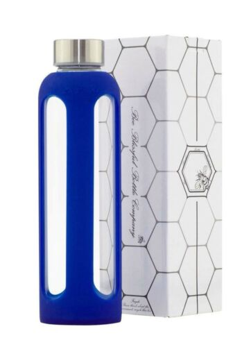 Bee Blissful Glass Silicone Water 500ml Drinking Bottle 100/% BPA Free Blue New