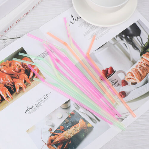 New Home Bar Party Disposable Extra Long Bend Drinking Straws Plastic Curved