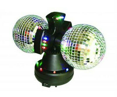 Twin Mirror Rotating Disco Ball DJ Party LED Light Lamp