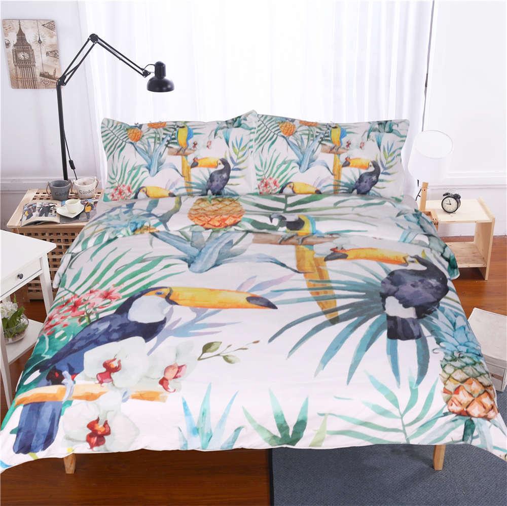Long Beaked Ornate Bird 3D Digital Print Bedding Duvet Quilt Cover Pillowcase