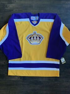 LOS-ANGELES-KINGS-AUTHENTIC-VINTAGE-GOLD-CCM-HOCKEY-JERSEY-SIZE-50