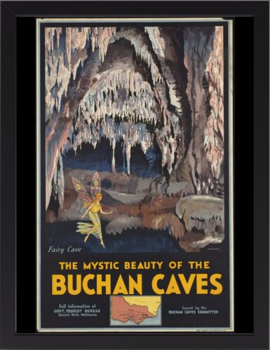 BUCHAN CAVES VICTORIA TRAVEL VINTAGE REPRO A3 FRAMED PHOTOGRAPHIC PRINT POSTER