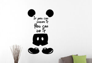 Details about Walt Disney Inspirational Quote Wall Decal Mickey Mouse Vinyl  Sticker Decor 34qz