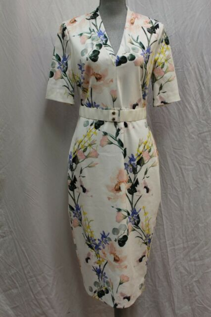 NWT Ted Baker Floral Body Con Belted Midi Dress TB Size 3 US 8 S M
