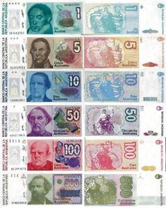 Argentina - Stock 6 Banknotes 1/5 / 10/50/100/500 Australes Fds - UNC