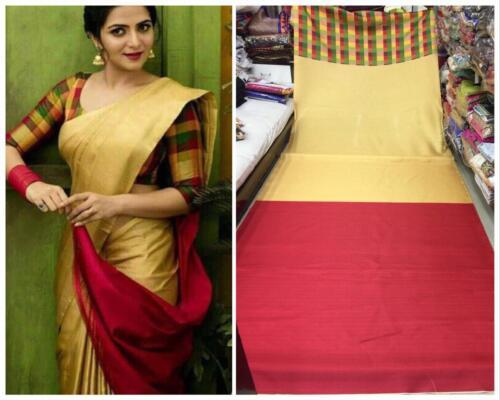 Ethnic Bollywood Pakistani Designer Cotton Silk Saree Indian Kanchipuram Sari SV