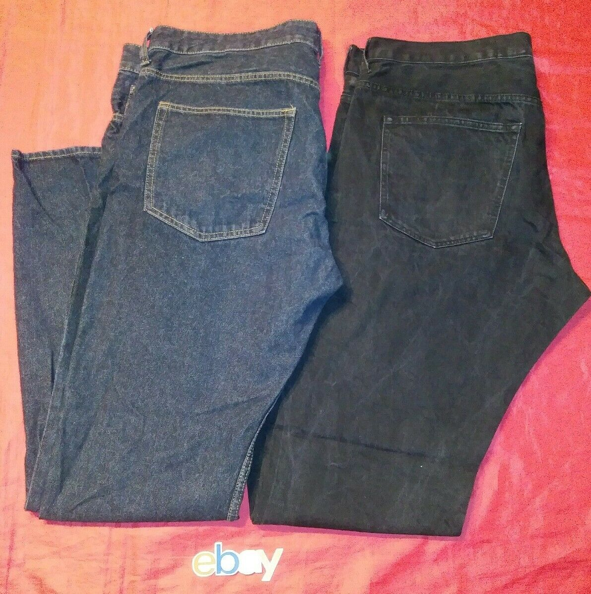 2 PC LOT MEN H&M DARK WASH blueE JEANS STRAIGHT REGULAR 38X34 TALL BUTTON FLY EUC