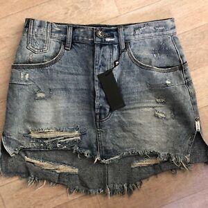 5fad44c95e One Teaspoon Skirt 27 28 Ripped Blue Storm Boy Jeans VANGUARD Mini ...