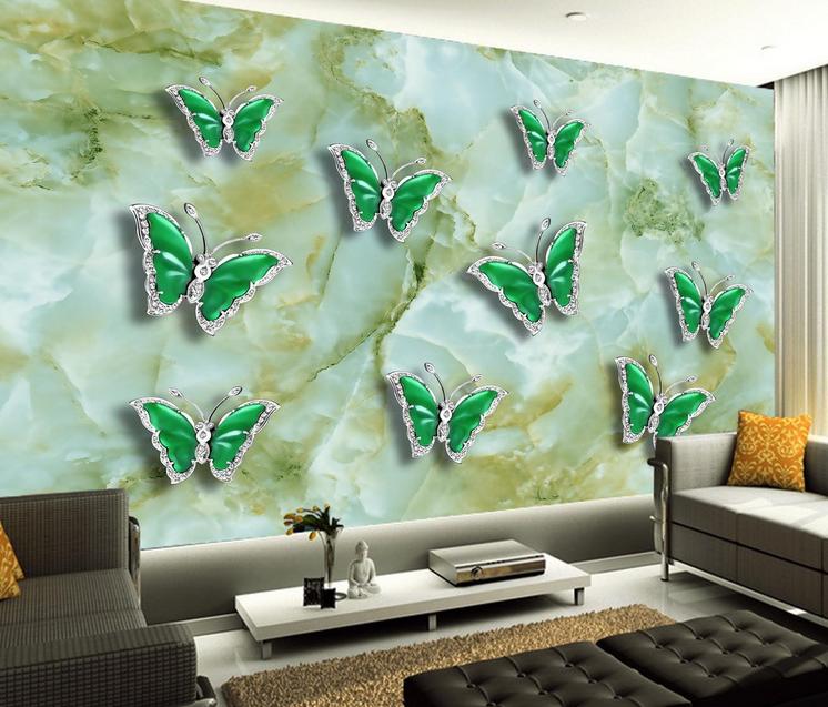 3D Grün Jade Butterfly 837 Wallpaper Mural Paper Wall Print Wallpaper Murals UK