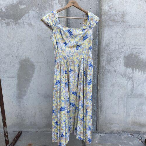 Vintage 1940s 1950s Cotton Sundress Blue & Yellow