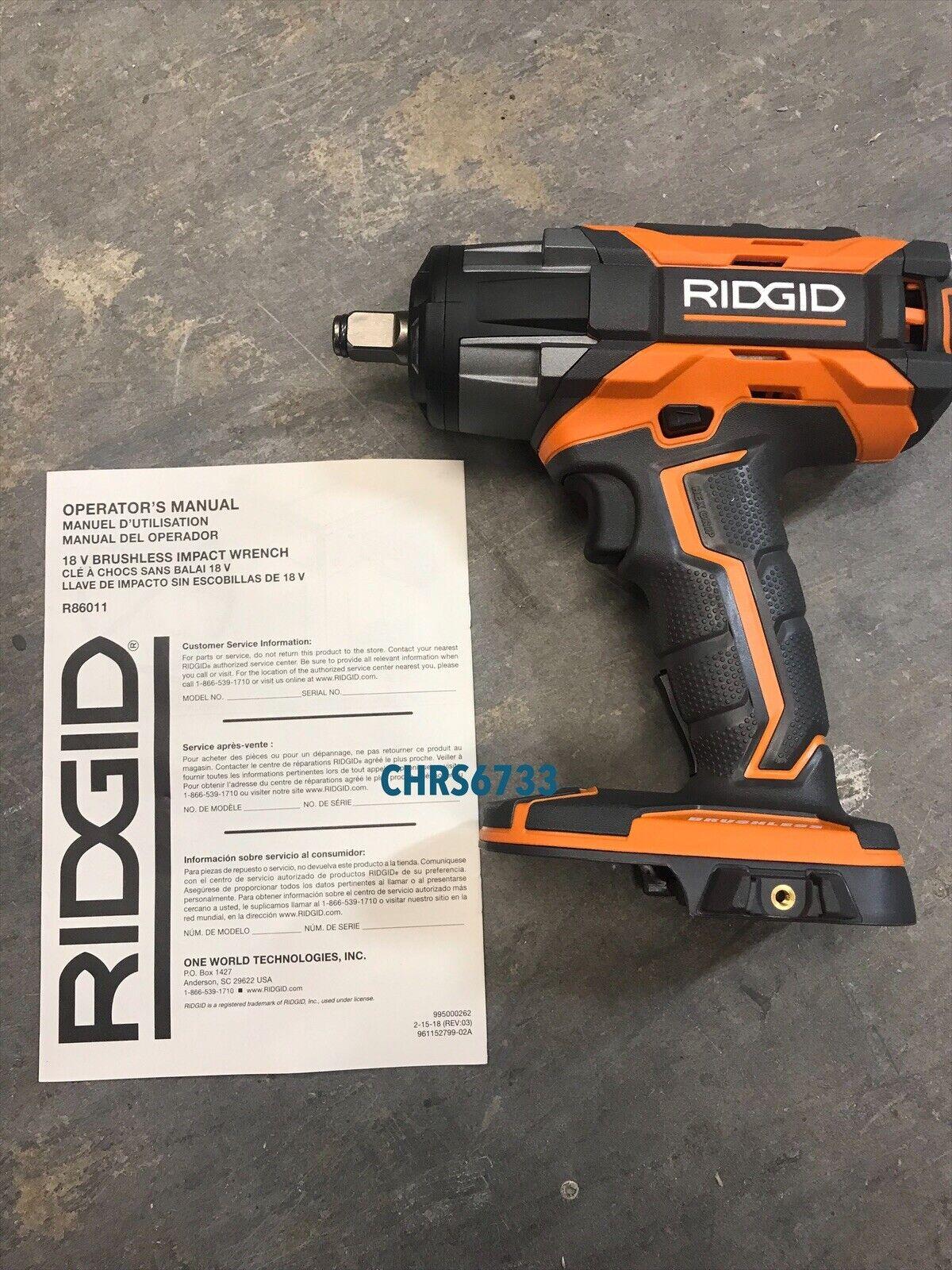 NEW RIDGID R86011B 18v 1 2  Cordless Impact Wrench Brushless Gen5x Tool Only