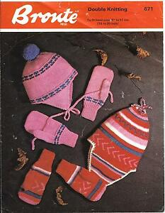 Bronte 671 Vintage Knitting Pattern Peruvian Hats /& Gloves DK Enhanced Copy