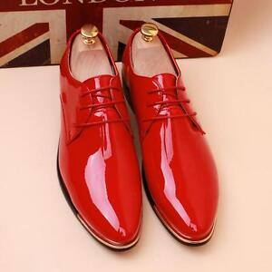 Men-039-s-Casual-Pointed-Patent-Leather-Lace-Wedding-Formal-Dress-Shoes-Oxfords-new