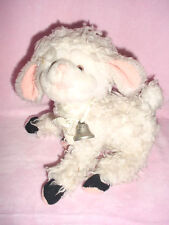 "Vtg-Applause-1985-80s-11""-White Fur Sheep Lamb-Silver Bell-Pink Nose ears"