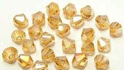 25 Bicone Glasschliffperlen ca 6mm Vintage golden shadow AB