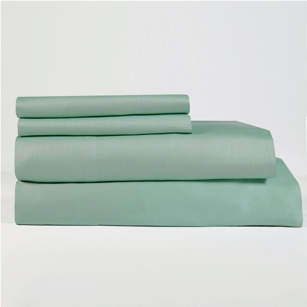 Lavish Lux 400 TC 100 % Cotton Sateen 4 PC Aqua Sheet Set