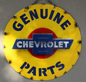 Image Is Loading Metal CHEVY Bow Tie Sign Gas Oil Garage