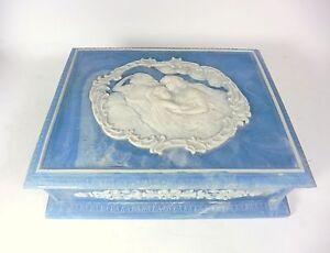 Vintage Genuine Incolay Stone Art Nouveau Style Blue