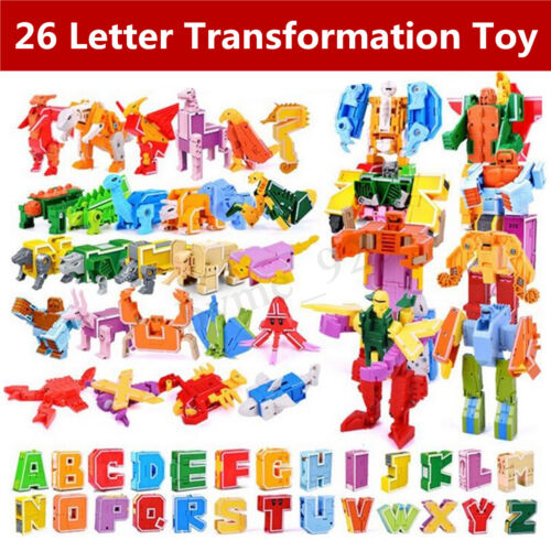 26 English Letter Transformation Alphabet Dinosaur Robot Animal Building