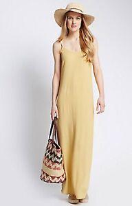 NEW-M-amp-S-Mustard-Yellow-Strappy-Summer-Long-Maxi-Beach-Sun-Dress-Size-8-22