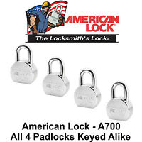 4 American Lock A700 High Security Solid Steel Padlocks