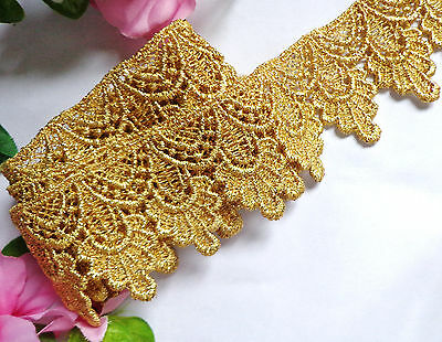 Metallic Venise Lace, 1+3/4 inch wide  trim gold color selling by the yard