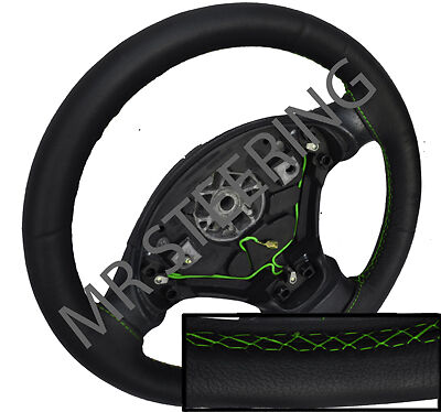 FITS 2005-2013 CITROEN C1 MK1 BLACK LEATHER STEERING WHEEL COVER GREEN STITCHING