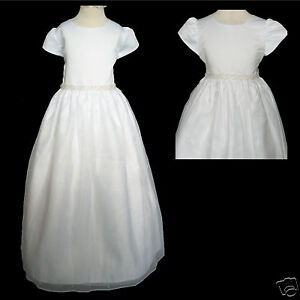 New Girl Wedding 1st Communion Recital Formal Party Dress White Size: 6X 7