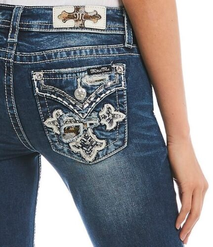 MISS ME Womens Stretch Denim Jeans Big Embroidered Stitch Fleur Crossed in Camo