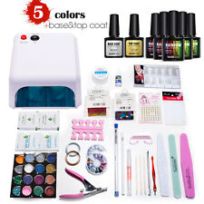Mondelones 36W Curing Lamp KITS Set UV and 5 Color Gel Nail Polish Base Top Coat