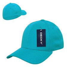 Aqua Blue Solid Blank Plain Flex Curved Baseball Ball Fit Fitted Cap Hat - L/XL