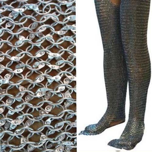 Aluminum Chain Mail Leggings Round Riveted Chausses Galvanized Leg Cowboy