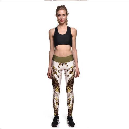 S-3XL Woman Wide belt legging Yellow owl Printed high waist  legging 716