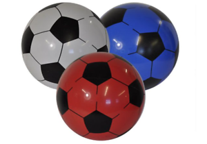 1x PVC Football Beach Ball Inflatable Plastic In Net Sports Training Soft Soccar