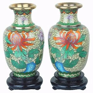 """2 Chinese Cloisonne Floral Vases in Gold Multi-Color 5""""H New"""