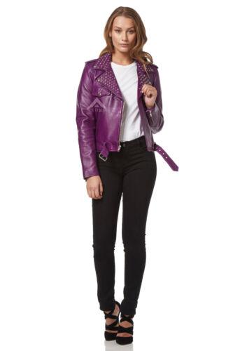 Mesdames Domino violet délavé Rockstar Femmes Véritable Rivets Veste en cuir 4326