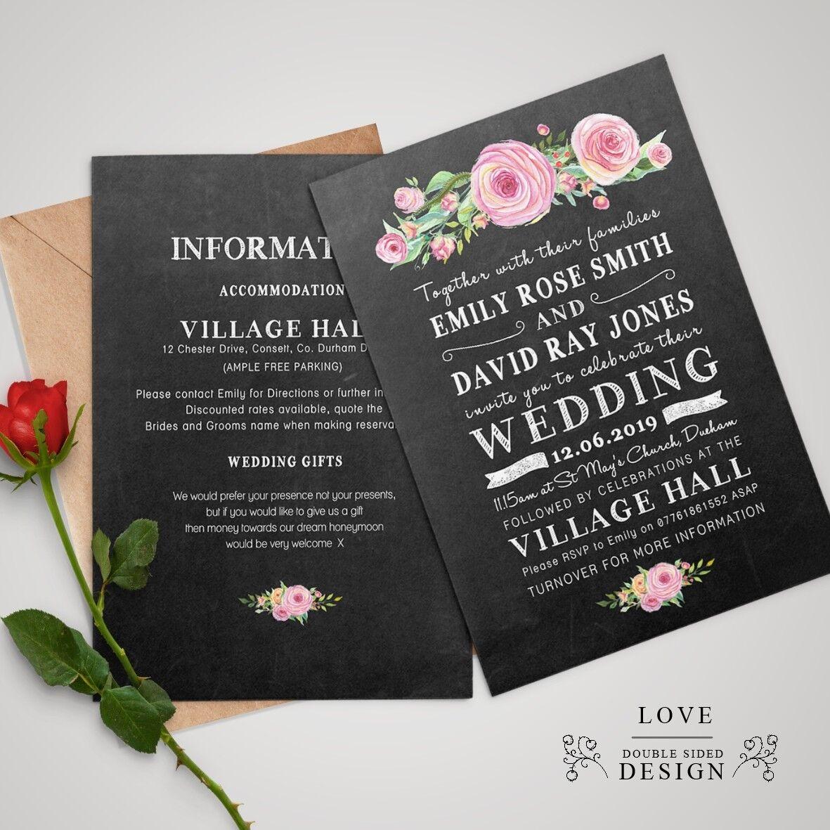 Personnalisé De Mariage/Soirée Mariage/Soirée De Invitations double face avec enveloppes aa87f9