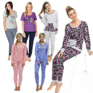 cheapest save up to 60% classic style of 2019 Details about Ladies Cotton Jersey Long Sleeve Top Print Leggings Pyjamas  Sets Nightwear Pjs