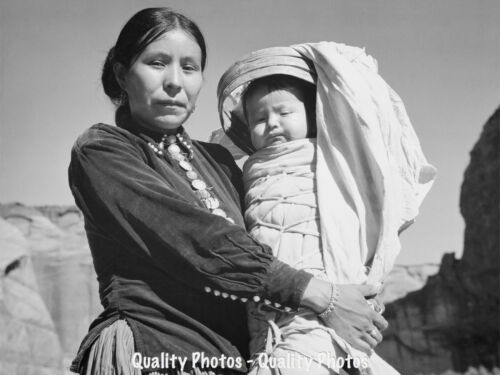 "Navajo Mother and Child 8.5x11/"" Photo Print Ansel Adams Native American History"